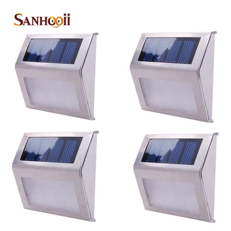 4pcs Outdoor Solar Power 2 Led Light Staircase Way Wall