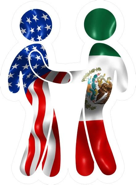 american flag  mexican flag shaking hands decal
