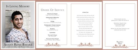 funeral order of service template funeral order of service booklets memorial media sydney australia