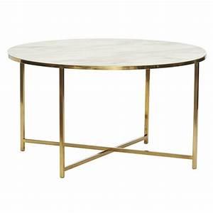 Table Basse Ronde Marbre : table basse ronde metal dore verre blanc effet marbre hubsch 020612 ~ Teatrodelosmanantiales.com Idées de Décoration