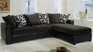 Canape Angle Marron : canap d 39 angle tissu marron et noir pas cher canap tissu ~ Teatrodelosmanantiales.com Idées de Décoration
