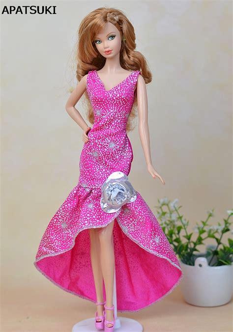 pink fashion  piece long evening dress  barbie dolls
