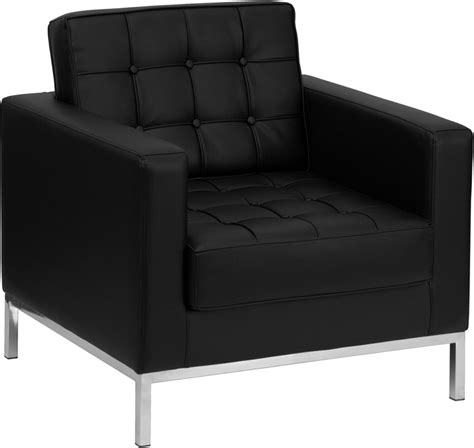 contemporary button tufted black leather chair with