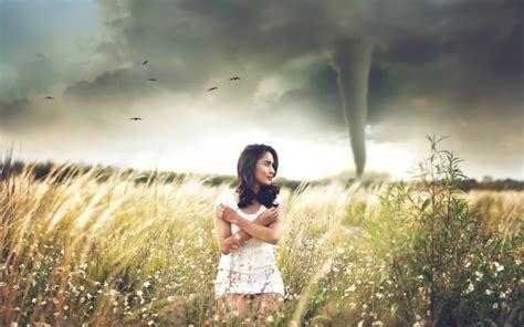 girl   field tornado   background widescreen