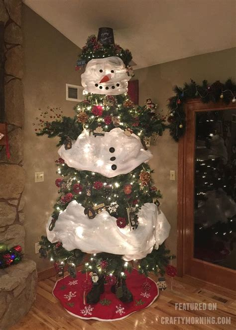 christmas tree decorated with snowmen how to make a snowman tree crafty morning