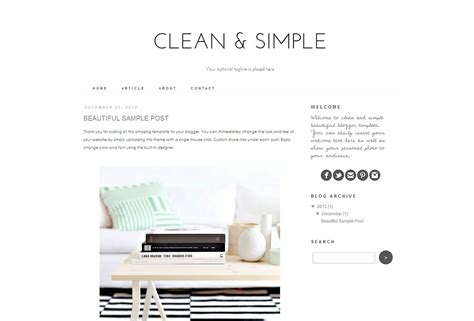 simple blogger template clean and simple themes creative market