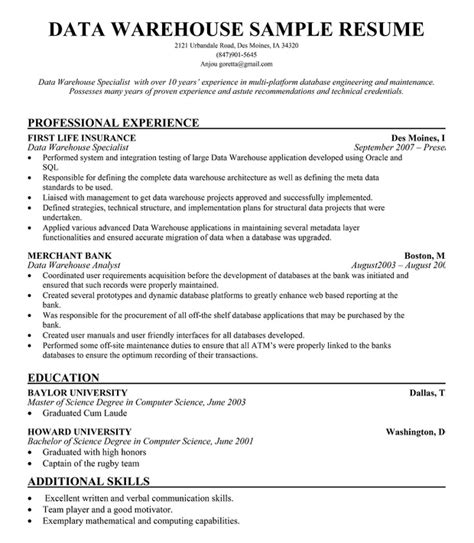 Sle Of Warehouse Manager Resume by Data Warehouse Manager Resume For Free Resumecompanion Resume Sles Across All