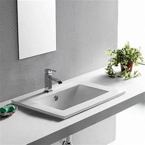 vasque a encastrer 62x46 cm plage robinet ceramique pure With salle de bain design avec vasque semi encastrable