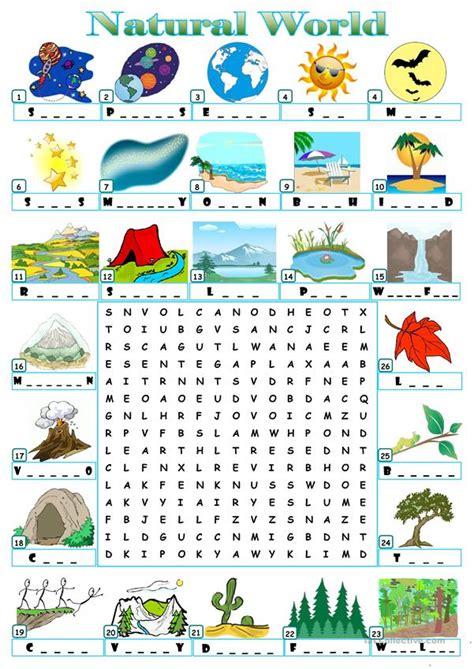 natural world worksheet  esl printable worksheets