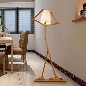 nordic creative wooden floor lamps e27 log fabric stand With living belize 3 light floor lamp