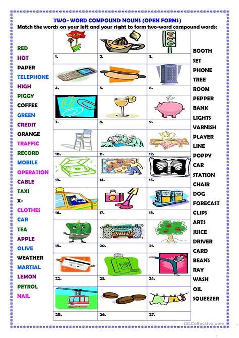 word compound words open forms worksheet  esl
