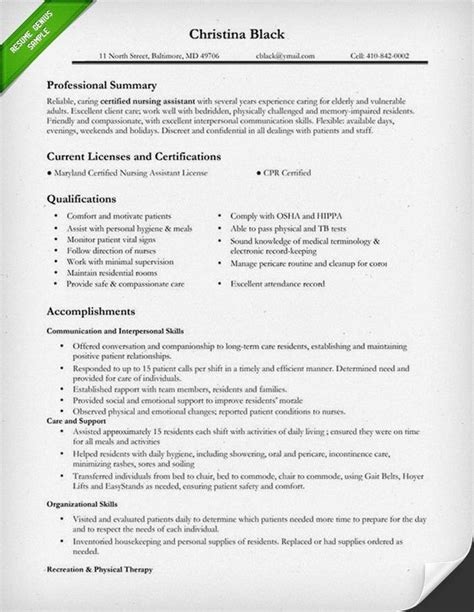 Certified Assistant Resume by Certified Nursing Assistant Resume Sle Self