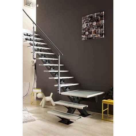 escalier quart tournant mona structure aluminium marche aluminium leroy merlin