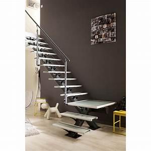 Marche Bois Escalier : escalier quart tournant mona structure aluminium marche ~ Premium-room.com Idées de Décoration