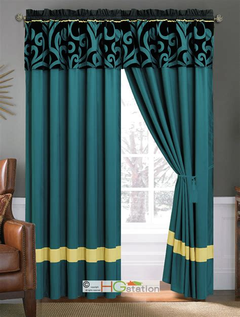 Teal Blue Window Valance by 4 Pc Bold Royal Damask Floral Scroll Curtain Set Teal Blue