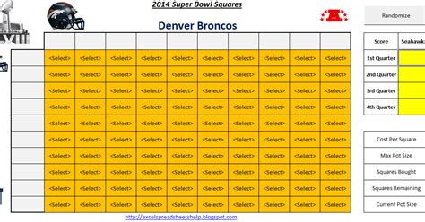 excel spreadsheets  super bowl squares  spreadsheet