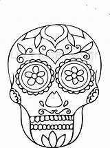 Colouring Skull Sugar Coloring Mindfulness Therapy sketch template