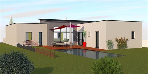 modele chambre parentale maison contemporaine avec toit plat et toit monopente à