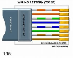 Wiring Pattern T568b Rj45 Modular Connector Tab Facing Away
