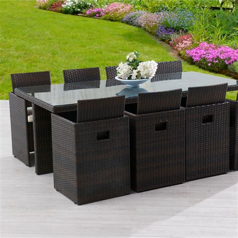 table et chaises de jardin leroy merlin salon de jardin encastrable résine tressée marron 1 table