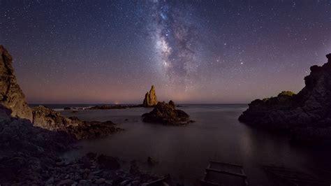 Starry Night Sky Wallpaper Milky Way Over Cabo De Gata Almeria Andalusia Spain Windows 10 Spotlight Images