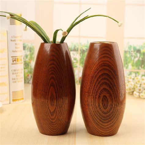 Wooden Flower Vase by Japan Style Solid Wooden Vase Oval Flower Vase Retro Wood