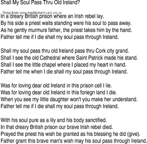irish  song  ballad lyrics    soul