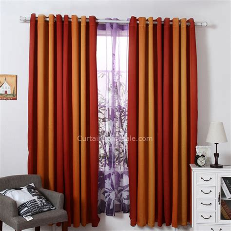 simple design polyester fabric orange blackout curtain