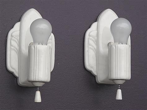 Pair Antique White Porcelain Kitchen Bathroom Art Deco