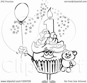 Clipart of a Line Art Girls First Birthday Cupcake with a ...