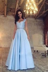 Two Piece Prom Dress A Line Graduation Dress Sky Blue Prom