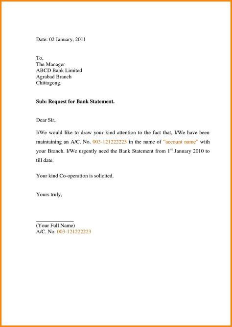 letter format  bank manager  bank statement fresh