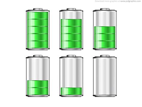 battery levels icons psdgraphics