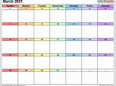 March 2021 Calendars for Word, Excel & PDF