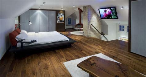 contemporary attic bedroom   en suite bathroom