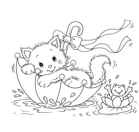 kitty cat  frog  umbrella coloring pages coloring