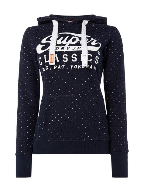 superdry hoodie mit punktemuster marineblau damen bekleidung 9495475 57 14 superdry