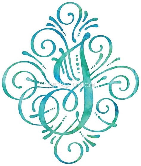 t and j designs monogram by junkydotcom curly watercolor painted