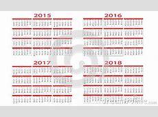 Kalender 2015 Bis 2018 Vektor Abbildung Bild 41082401