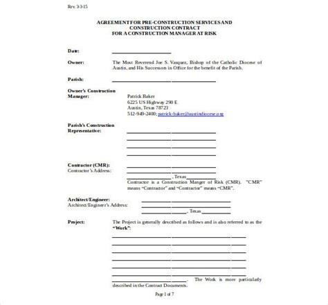 pre construction services agreement templates word