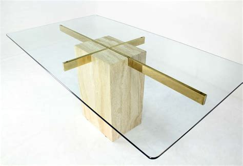 mid century modern dining table base travertine pedestal base glass top mid century modern