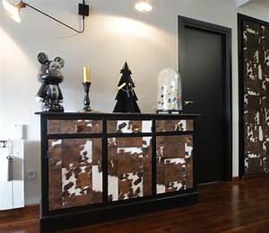 Papier Deco Meuble : relooking meuble vintage peau de vache malo design ~ Teatrodelosmanantiales.com Idées de Décoration