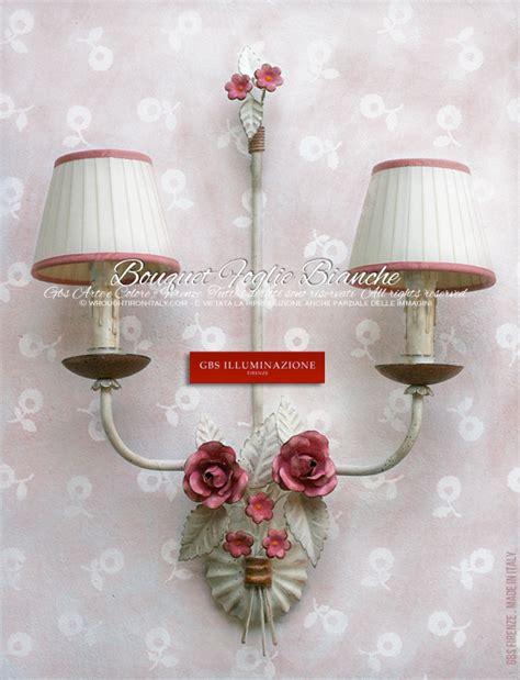 applique cameretta bouquet rosa foglie bianche applique a 2 per