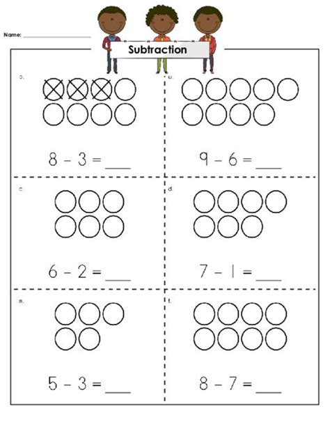Visual Subtraction Worksheets  Fractions Worksheets Printable For Teachersvisual Subtraction