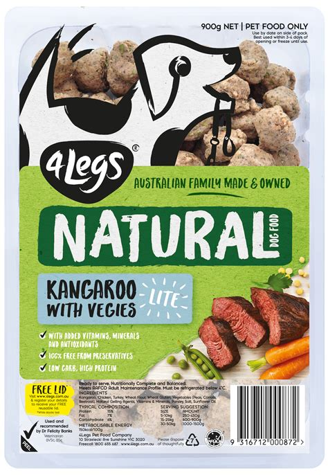 As for supplements, you have egg and chicken too. 4Legs Natural Dog Food Kangaroo Lite with Vegies Reviews ...