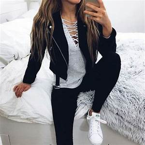 Cute outfit. Leather jacket black jeans. Lace up top. Teen ...