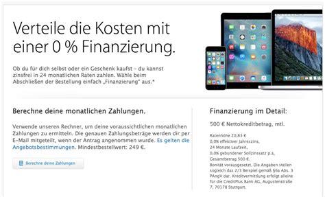 Apple Online Store 0 Prozent Finanzierung auf iPhone 6S