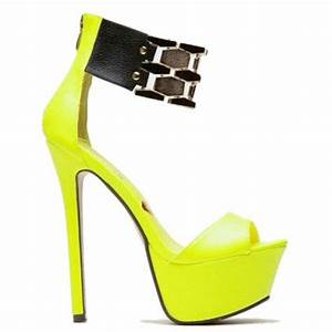 Flaunt Neon Yellow Gold Band Open Toe Sandal Heels