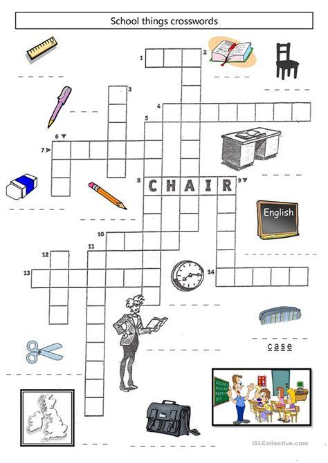 school things crosswords worksheet free esl printable