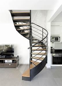 Escalier Metal Et Bois : escalier d 39 int rieur m tallique design sur flamme centrale ~ Dailycaller-alerts.com Idées de Décoration